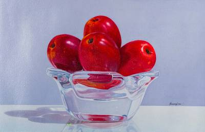 'Sweet Plums' - Original Signed Peruvian Still Life Fruit Painting
