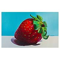 'Unique Flavor' - Hyperreal Oil Painting of a Single Ripe Strawberry