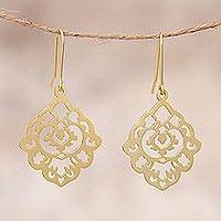 Gold plated sterling silver dangle earrings, 'Floral Rhombus'