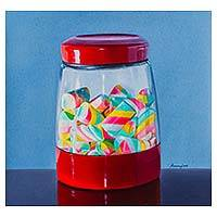 'Sweet Flavors' - Old Fashioned Candy Jar Painting in Oils on Canvas from Peru