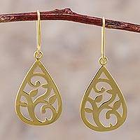 Gold plated sterling silver dangle earrings, 'Droplet Foliage' - Gold Plated Sterling Silver Dangle Earrings Leaf Motif Peru