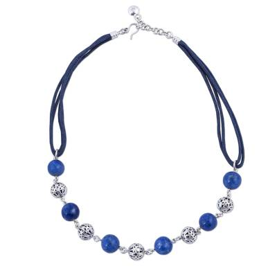Sterling Silver Sodalite Link Necklace Cotton Cord from Peru
