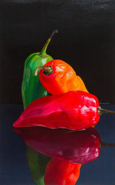 'Reflection in the Night' - Original Signed Hot Peppers Painting in Oil on Canvas