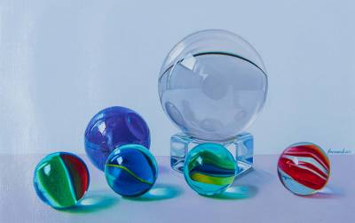 'Color Dreams' - Signed Hyperreal Oil Painting of 6 Glass Marbles
