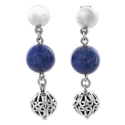 Sterling Silver Sodalite Dangle Earrings from Peru