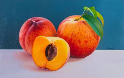 'Your Flavor on My Lips' - Sensuous Oil Painting of Peaches in Hyperreal Style