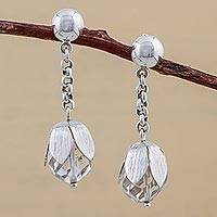 Quartz dangle earrings, 'Floral Cocoon' - Sterling Silver Quartz Floral Dangle Earrings from Peru
