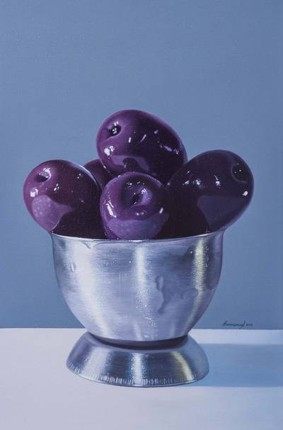'Purple Beauty' - Modern Peruvian Still Life of Olives in Pewter