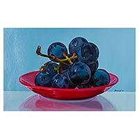 'Sweetness to Remember' - Purple Grapes on Red China Signed Original Still Life