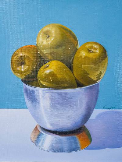 'Fruit of the Olive Tree' (2016) - Original Signed Andean Still Life with Green Olives
