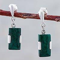 Chrysocolla dangle earrings, 'Hug' - Peruvian Chrysocolla Pendant on 925 Sterling Silver Earrings