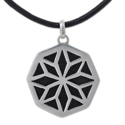 Leather and sterling silver pendant necklace, 'Starlight Eclipse' - Silver and Leather Medallion Necklace Peruvian Jewelry