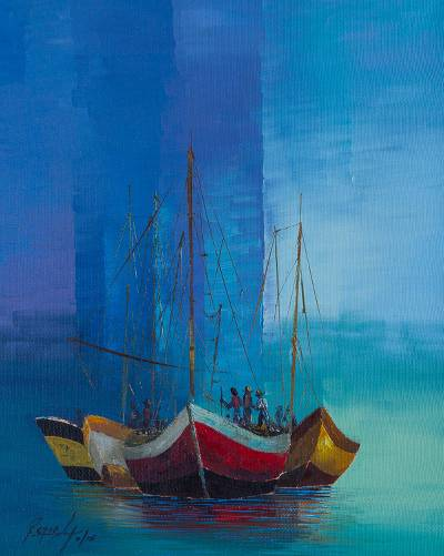 'Daily Work' - Fishing Boat Scene in Blues in Oil on Canvas from Peru