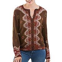 100% alpaca cardigan, 'Mahogany Inca' - 100% Alpaca Wool Crochet Cardigan in Mahogany from Peru