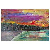 'Magdalena Beach' - Psychedelic Peruvian Beach Painting Signed by Artist