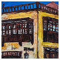 'Balcony in Barrios Altos' - Original Acrylic Painting of a Colonial Building in Lima