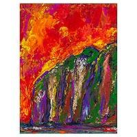 'Cliffs of the Green Coast' - Original Expressionist Painting of the Peruvian Seacoast