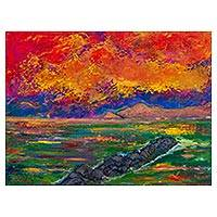 'Autumn from the Breakwater' - Signed Sunset Seascape Painting Depicting the Peruvian Coast