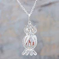 Sterling silver filigree pendant necklace, 'Nocturnal Friend' - Sterling Silver and Copper Pendant Owl Necklace from Peru