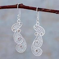 Sterling silver filigree dangle earrings, 'Filigree Finesse' - Sterling Silver Filigree Dangle Earrings from Peru