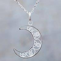 Sterling silver filigree pendant necklace, 'Shining Moon' - Sterling Silver Filigree Pendant Crescent Moon Necklace