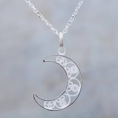 Sterling silver filigree pendant crescent moon necklace shining sterling silver filigree pendant necklace shining moon sterling silver filigree pendant crescent mozeypictures Images