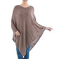 Poncho, 'Brown Tulip Petal' - Long Brown Women's Poncho from Peru