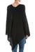 Poncho, 'Black Tulip Petal' - Long Black Women's Poncho from Peru (image 2c) thumbail