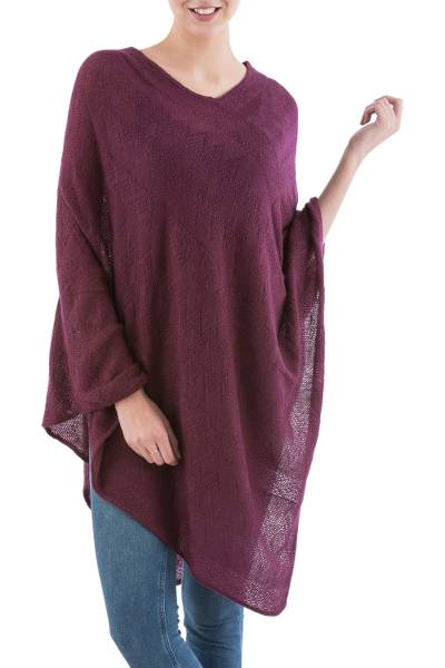 Long Maroon Poncho with Zig Zag Pattern from Peru
