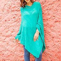 Poncho, 'Turquoise Tulip Petal' - Long Turquoise Poncho with Zig Zag Pattern from Peru