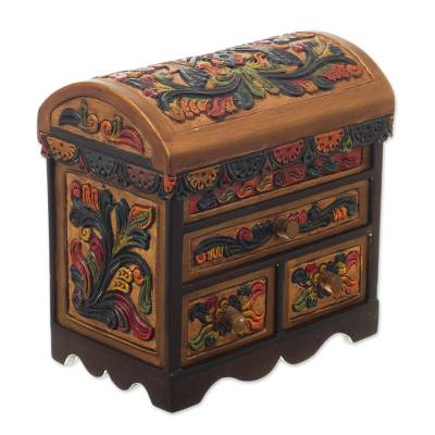 Cedar and leather jewelry box, 'Elegant Hummingbirds' - Multicolor Cedar Wood and Leather Jewelry Box from Peru