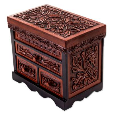 Cedar and leather jewelry box, 'Symbolic Leaves' - Cedar Wood and Leather Jewelry Box with Mirror from Peru