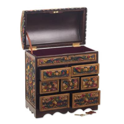 Painted Cedar Wood And Leather Jewelry Box From Peru Shimmering Eagle Novica
