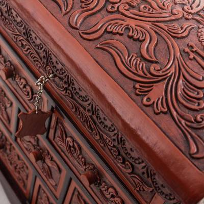Cedar And Leather Jewelry Box With Key From Peru Formidable Falcon Novica