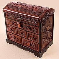 Cedar and leather jewelry box, 'Nazca' - Cedar Wood and Leather Jewelry Box with Key from Peru