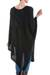 Textured poncho, 'Black Inca Maze' - Long Black Textured Poncho from Peru (image 2c) thumbail