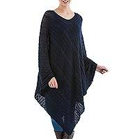 Textured poncho, 'Navy Inca Maze' - Long Navy Asymmetrical Poncho from Peru