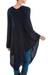 Textured poncho, 'Navy Inca Maze' - Long Navy Asymmetrical Poncho from Peru (image 2c) thumbail