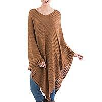 Textured poncho, 'Copper Inca Maze' - Asymmetrical Copper Poncho from Peru
