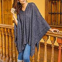 Poncho, 'Grey Earth Cracks' - Dark Grey Asymmetrical Poncho from Peru