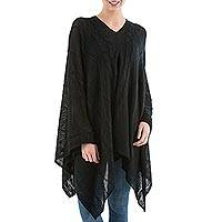 Poncho, 'Black Earth Cracks' - Asymmetrical Black Poncho from Peru
