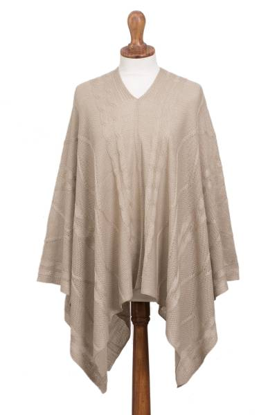 Poncho, 'Beige Earth Cracks' - Light Beige Asymmetrical Poncho from Peru