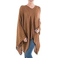 Poncho, 'Copper Earth Cracks' - Asymmetrical Copper Poncho from Peru
