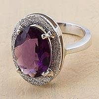 Amethyst cocktail ring, 'Purple Treasure'
