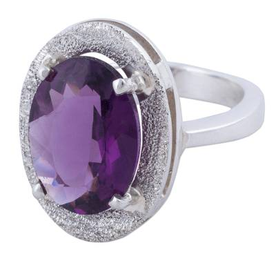 Amethyst cocktail ring, 'Purple Treasure' - Hand Made Amethyst Sterling Silver Cocktail Ring from Peru