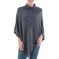 Knit poncho, 'Grey Reality Squared' - Dark Grey Poncho with Turtleneck from Peru