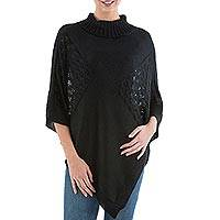 Knit poncho, 'Black Reality Squared' - Black Poncho with Turtleneck from Peru
