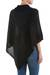 Knit poncho, 'Black Reality Squared' - Black Poncho with Turtleneck from Peru (image 2c) thumbail