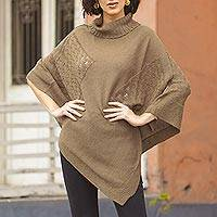 Knit poncho, 'Copper Reality Squared'