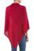 Knit poncho, 'Red Reality Squared' - Red Poncho with Turtleneck from Peru (image 2c) thumbail
